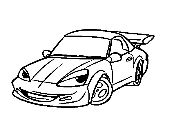 Sports car with aileron coloring page