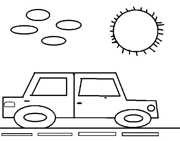Square car coloring page