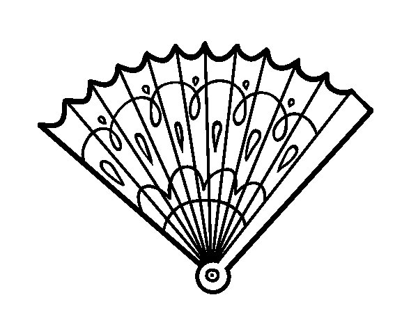 Stamped hand fan coloring page