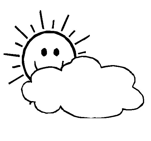 Sun and cloud coloring page