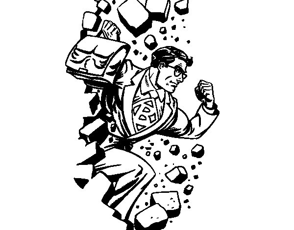Superhero breaking a wall coloring page