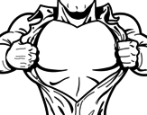 Superhero chest coloring page