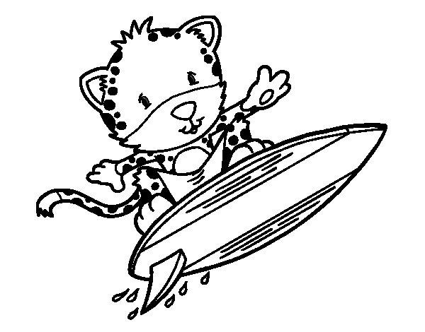 Surfer cheetah coloring page