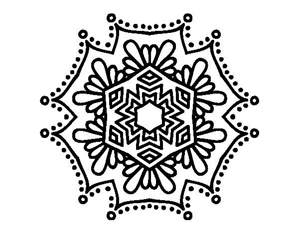 Symmetrical flower mandala coloring page