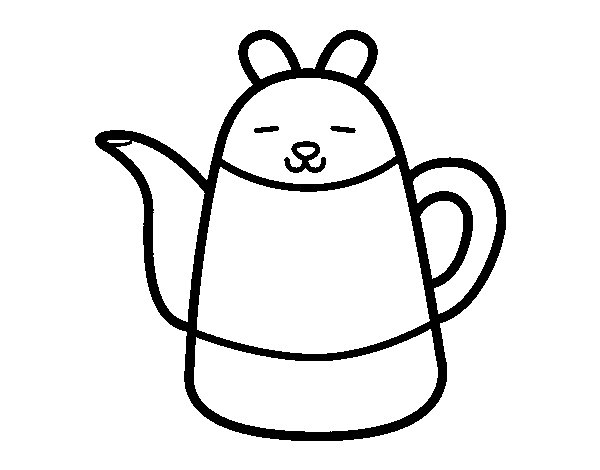 Teapot shaped rabbit coloring page