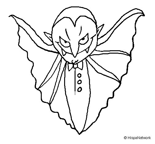 Terrifying vampire coloring page