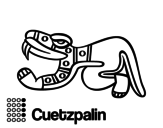 The Aztecs days: the Lizard Cuetzpalin coloring page
