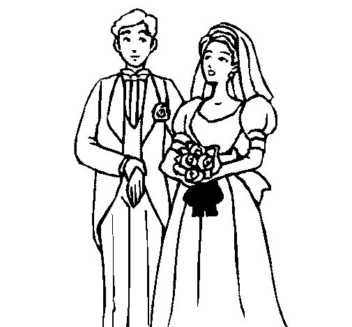 The bride and groom III coloring page