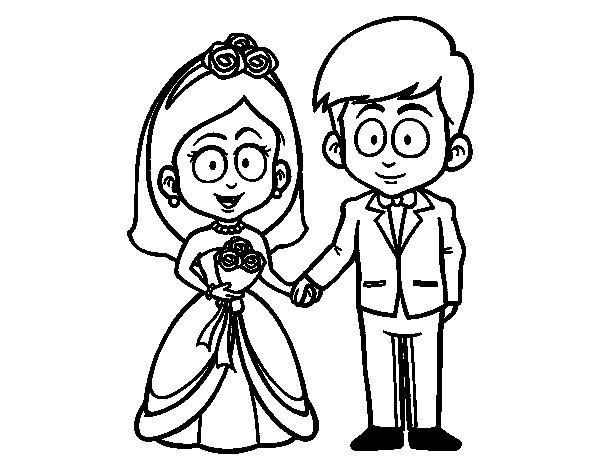 The bride and groom. coloring page