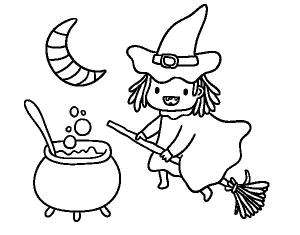 The flying witch and her potion coloring page