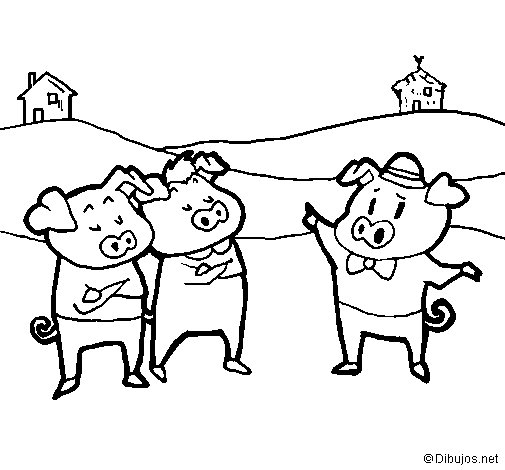 Three little pigs 5 coloring page
