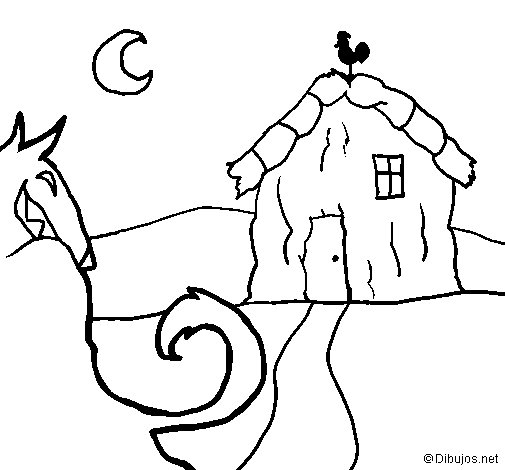 Three little pigs 6 coloring page