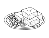Tofu with vegetables coloring page