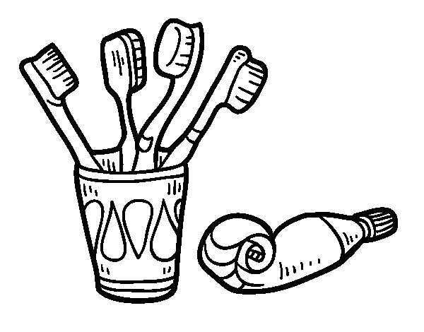 Toothbrushes and toothpaste coloring page