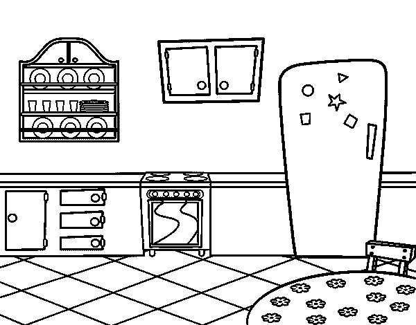 Traditional Kitchen Coloring Page