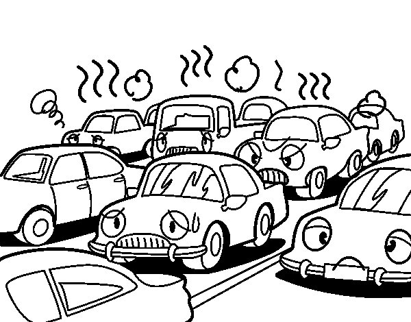 Traffic congestion coloring page