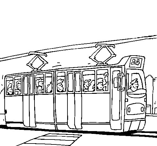 Tram with passengers coloring page