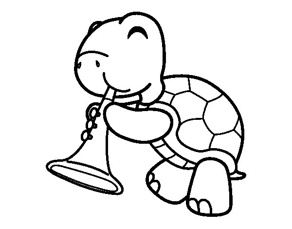 turtle with trumpet coloring page