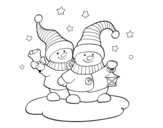 Two christmas dolls coloring page