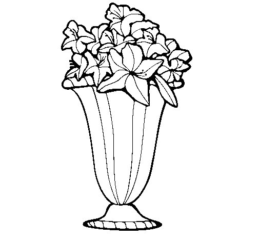 Vase of flowers 2a coloring page