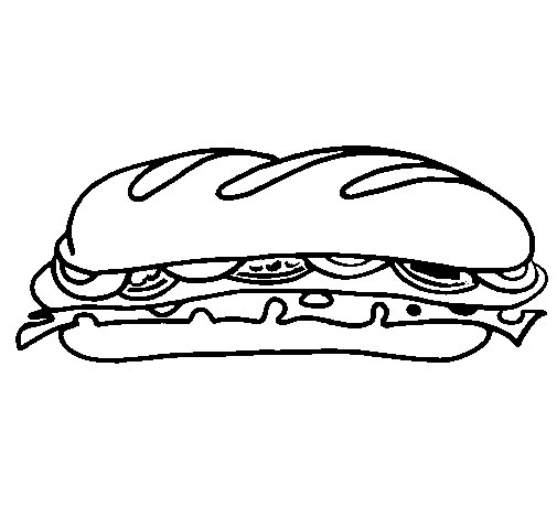 Vegetable sandwich coloring page