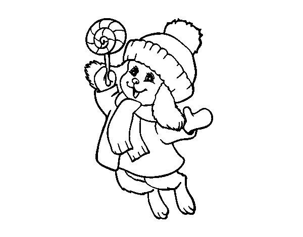 Warm bunny coloring page