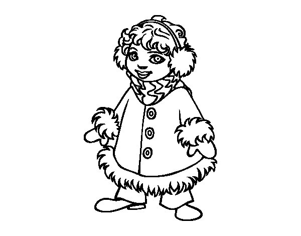 Warm girl coloring page