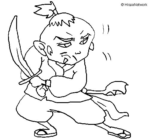 Warrior with sword coloring page