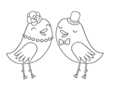 Wedding birds coloring page