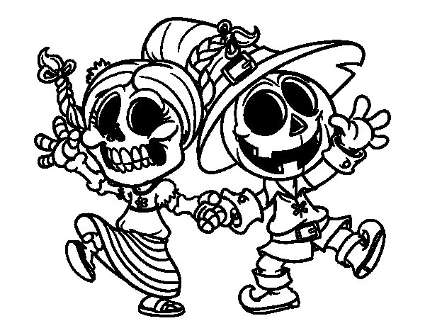 Wednesday and Jack-o-lantern coloring page