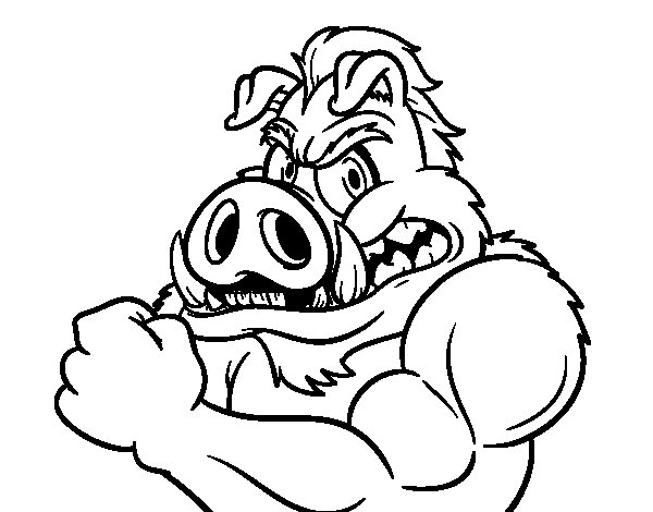 Wild boar strong coloring page