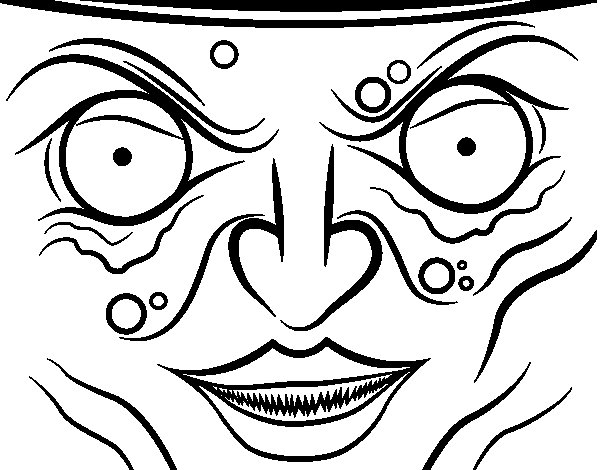 Witch Face Coloring Page
