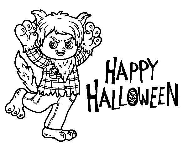 Wolf costume for Halloween coloring page