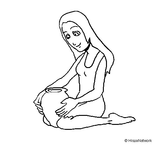 Woman and urn coloring page