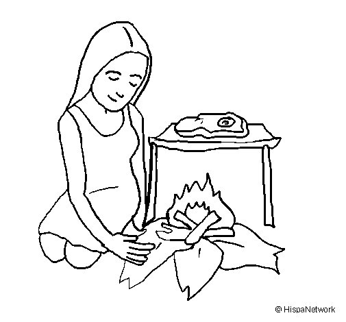 Woman cooking coloring page
