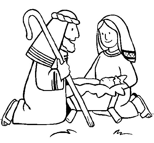 Worshipping baby Jesus coloring page