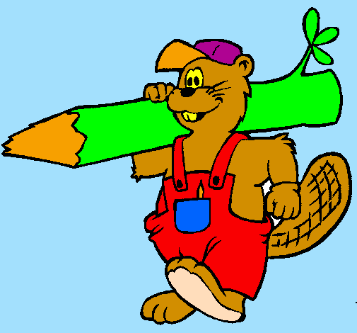 Coloring page Beaver at work painted bylauraa