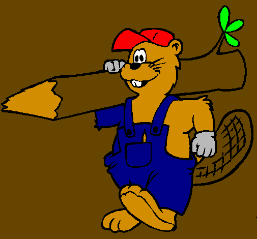 Coloring page Beaver at work painted bymillaray