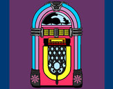 Coloring page 1950s jukebox painted byShebear