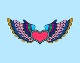 Coloring page Heart with wings painted byphoenix