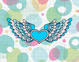 Coloring page Heart with wings painted byGemma