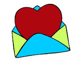 Coloring page Heart in an envelope painted byhidayah