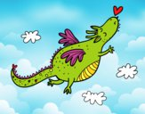 Coloring page Dragon with a heart painted bybarbie_kil