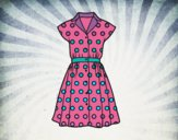 Coloring page Pinup dress painted bynessab82