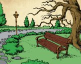 Coloring page Landscape park painted byTheColor