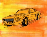 Coloring page Mustang retro style painted byleslie