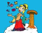 Coloring page Athena goddess painted bymindella