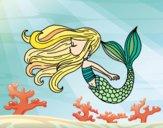 Coloring page Mermaid is floating painted bysuzie