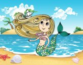 Coloring page Mermaid with a small boat painted bysuzie