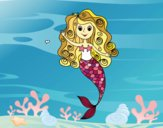 Coloring page Mermaid with curls painted bysuzie